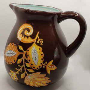 Gates Ware brown folk motive water pitcher